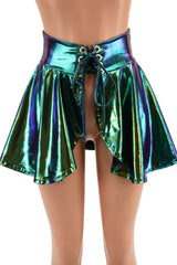 Open Front Lace Up Skirt in Scarab - Coquetry Clothing