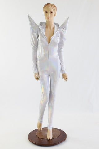 Flashbulb Holographic Mega Shoulder Catsuit - Coquetry Clothing