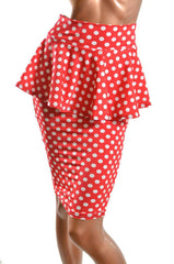 Polka Dot Peplum Wiggle Skirt - Coquetry Clothing