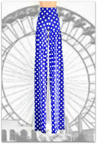 Stilt Pants in Patriotic Blue & White Star Print - Coquetry Clothing
