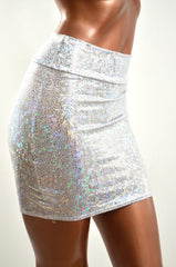 Silver & White Bodycon Skirt - Coquetry Clothing