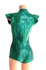 Deep Plunge Green Holographic Romper - Coquetry Clothing