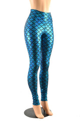 High Waist Turquoise Mermaid Leggings - Coquetry Clothing