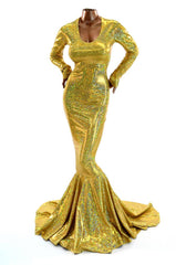 Gold Holographic Emmy Gown - Coquetry Clothing