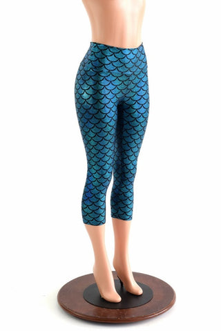 Mermaid Scale High Waist Capri Leggings - Coquetry Clothing