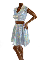 Silver Holographic Crop & Skirt - Coquetry Clothing