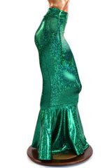 Green Holographic High Waist Mermaid Skirt - Coquetry Clothing