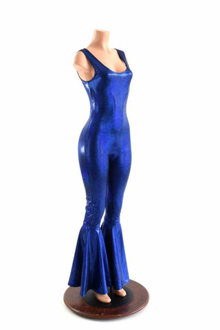 Blue Metallic Bell Bottom Cat Suit - Coquetry Clothing