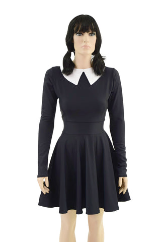 Wednesday Dress with Removable Collar - Coquetry Clothing