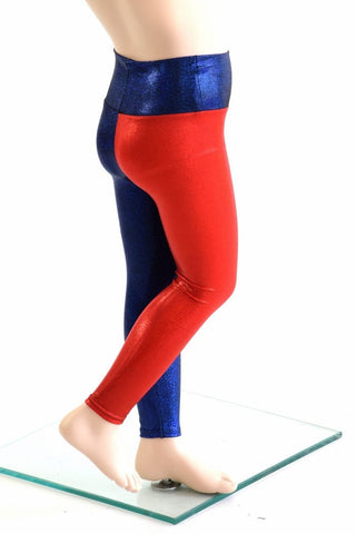 Kids Red & Blue Harlequin Leggings - Coquetry Clothing