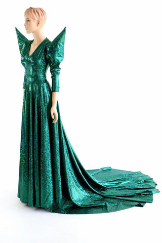 Glinda Emerald Green A Line Gown - Coquetry Clothing
