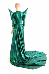 Glinda Emerald Green Circle Cut Gown - Coquetry Clothing