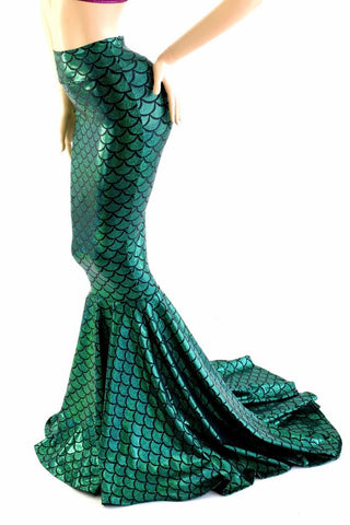 High Waist Mermaid Skirt with Puddle Train - Coquetry Clothing