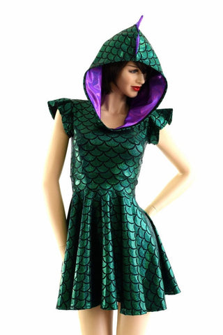 Green Dragon Hoodie Skater Dress - Coquetry Clothing