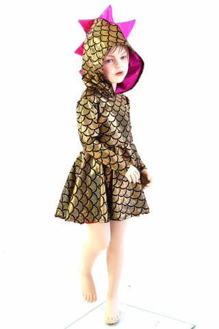 Girls Dragon Hooded Skater Dress