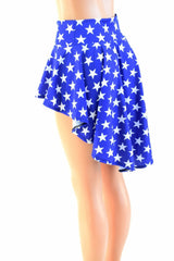 Blue and White Star Hi Lo Rave Mini Skirt - Coquetry Clothing