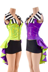 Reversible Tuxedo Tail Sleeveless Zipper Front Jacket - Coquetry Clothing
