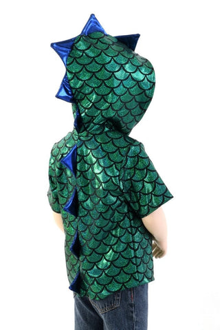 Childrens Green & Blue Dragon Hoodie - Coquetry Clothing