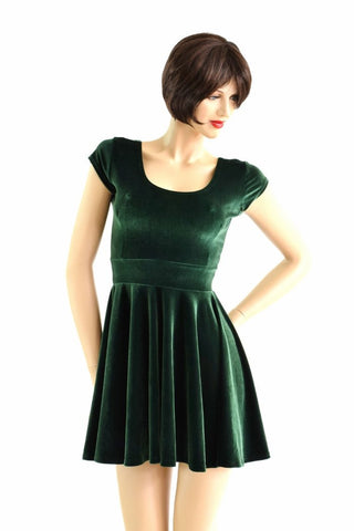 Forest Green Velvet Skater Dress - Coquetry Clothing