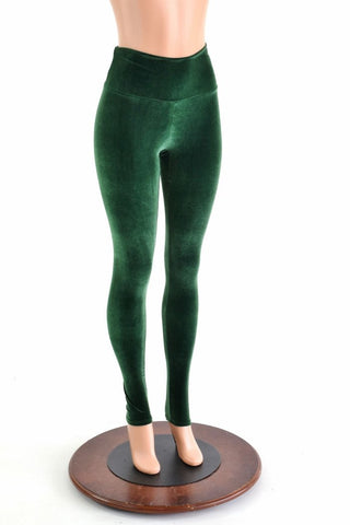 Forest Green Velvet High Waist Leggings - Coquetry Clothing