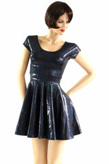Black Holographic Cap Sleeve Skater Dress - Coquetry Clothing
