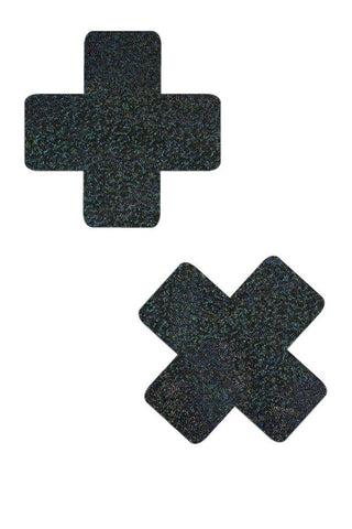 Black Holographic Cross Pasties - Coquetry Clothing