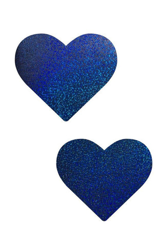 Blue Sparkly Jewel Heart Pasties - Coquetry Clothing