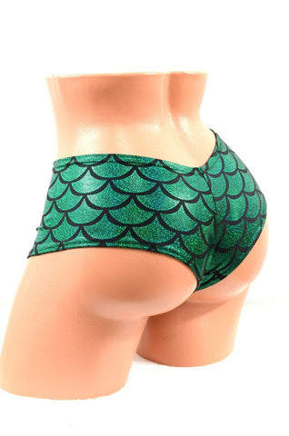 Green Mermaid Scale Cheeky Booty Shorts - Coquetry Clothing