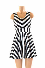 Black & White Striped Skater Dress