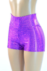 Purple High Waist Mermaid Shorts - Coquetry Clothing