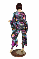 Galaxy and Fuchsia Sparkly Jewel Batwing Catsuit - Coquetry Clothing