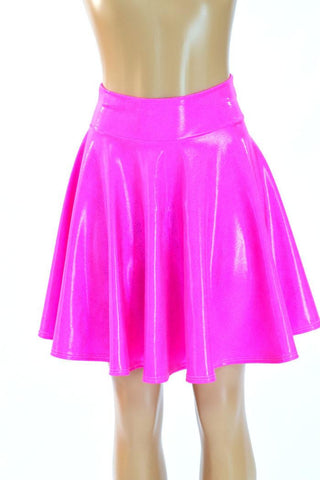 Pink Holographic Skater Skirt - Coquetry Clothing
