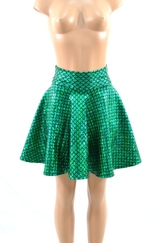 Green Scale Mermaid Skater Skirt - Coquetry Clothing