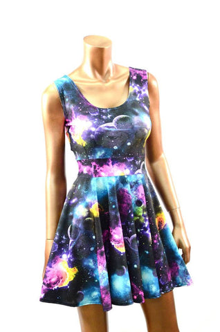 UV Glow Galaxy Tank Skater Dress
