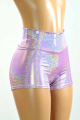 High Waist Lilac Holographic Shorts - Coquetry Clothing