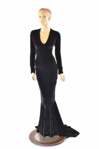 Black Velvet Morticia Gown - Coquetry Clothing
