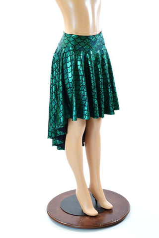 Green Mermaid Hi-Lo Skater Skirt - Coquetry Clothing