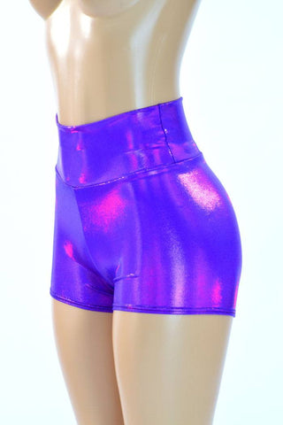 Purple High Waist Shorts - Coquetry Clothing