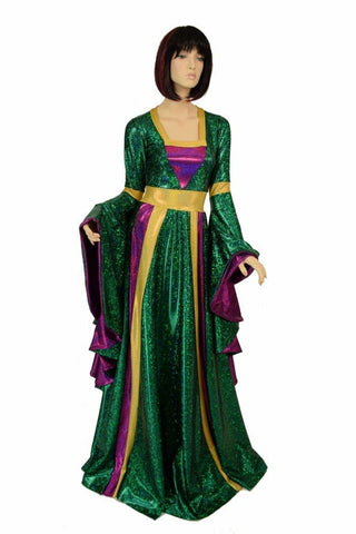 Full Length Mardi Gras Gown with Sorceress Sleeves - Coquetry Clothing