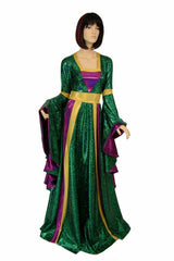 Marian Gown in Mardi Gras colors with Sorceress Sleeves - Coquetry Clothing