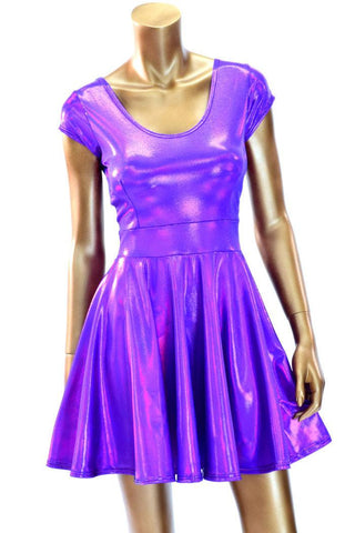 Purple Holographic Skater Dress - Coquetry Clothing
