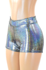 Silver Holographic Mid Rise Shorts - Coquetry Clothing