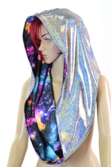 Silver & Galaxy HUGE Reversible Festival Hood - Coquetry Clothing