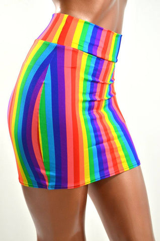 Rainbow Bodycon Skirt - Coquetry Clothing