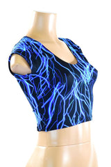 Blue Lighting Cap Sleeve Crop - Coquetry Clothing