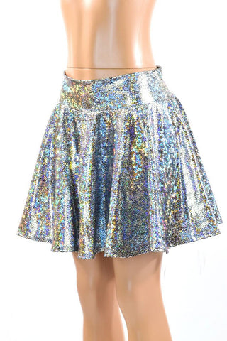 Silver Holographic Skater Skirt - Coquetry Clothing