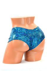 Turquoise Holographic Cheeky Shorts - Coquetry Clothing