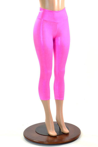 Pink High Waist Capri Leggings - Coquetry Clothing