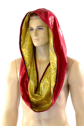 Gold & Red HUGE Reversible Festival Hood - Coquetry Clothing