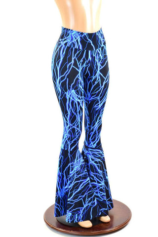 Neon Blue Lightning Bell Bottoms - Coquetry Clothing